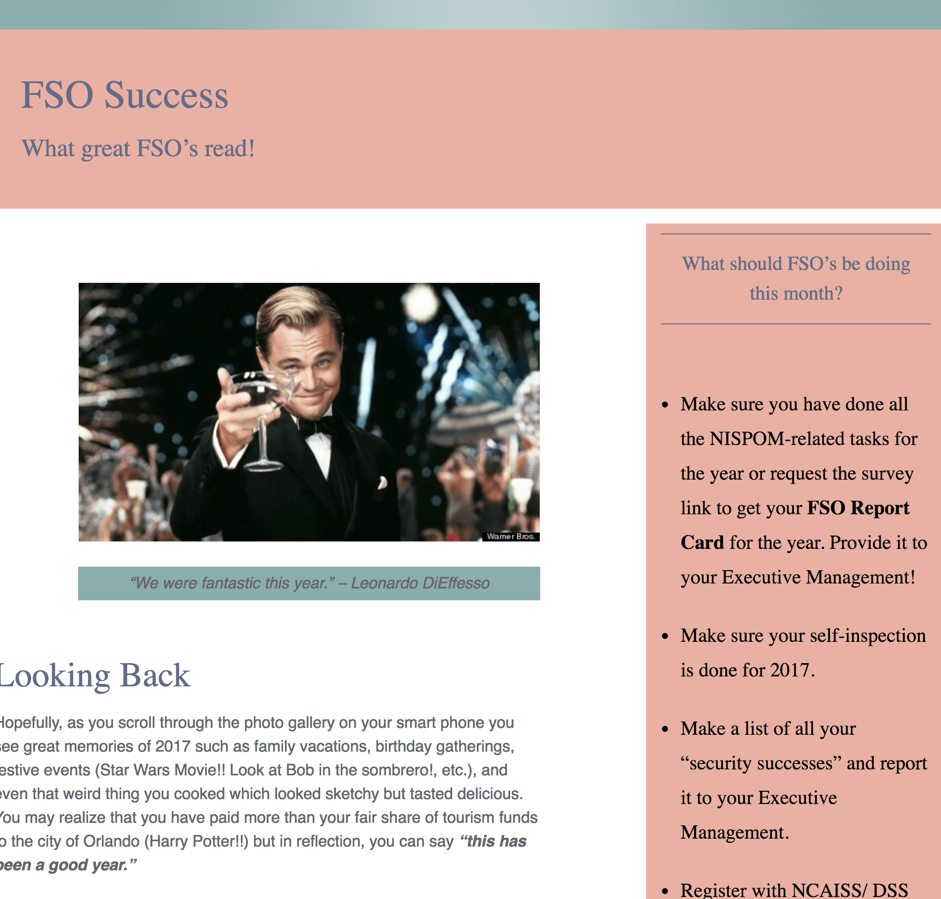 FSO Success - January Newsletter - The FSO Pro